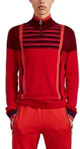 Paul Smith Men's Colorblocked-&-Striped Merino Wool Quarter-Zip Sweater - Red