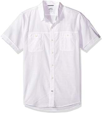 Izod Men's Dockside Chambray Solid Short Sleeve Shirt (Regular and Slim Fit)