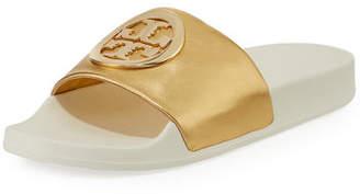 42c3be6f4358 ... Tory Burch Lina Metallic Leather Pool Slide Sandals