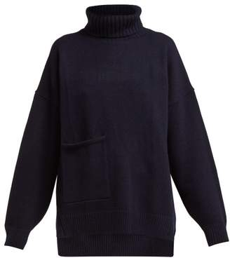 Tibi Patch Pocket Cashmere Roll Neck Sweater - Womens - Navy