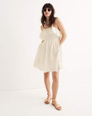 Madewell Embroidered Apron Ruffle Dress