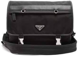 Prada Leather Trimmed Nylon Messenger Bag - Mens - Black