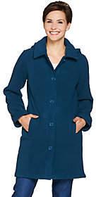 Denim & Co. Fleece Jacket with Sherpa Lining &Detachable Hood