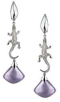 Alexis Bittar Metallic Maji Crystal & Lucite Lizard Drop Earrings