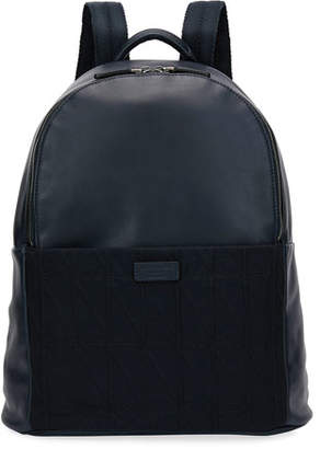 Giorgio Armani Leather & Knit Backpack