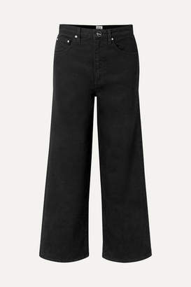 Totême Flair Cropped High-rise Wide-leg Jeans - Black