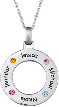 JCPenney FINE JEWELRY Personalized Family Name and Birthstone Sterling Silver Circle Pendant Necklace