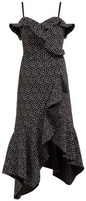Jonathan Simkhai Polka Dot Print Off The Shoulder Midi Dress - Womens - Black White