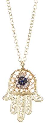 Meira T 14K Yellow Gold Crystal & Diamond Accent Hamsa Charm Necklace - 0.02 ctw