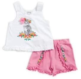 Flapdoodles Little Girl's Two-Piece Kitten Floral Shirt and Shorts