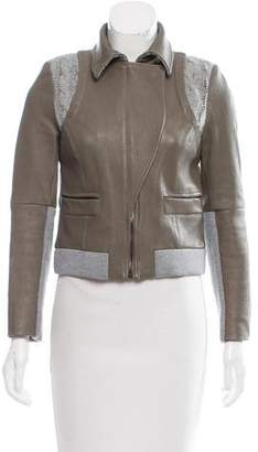 Thakoon Wool Trimmed Leather Jacket