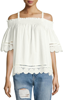 English Factory Eyelet-Trim Off-the-Shoulder Top, Off White $59 thestylecure.com