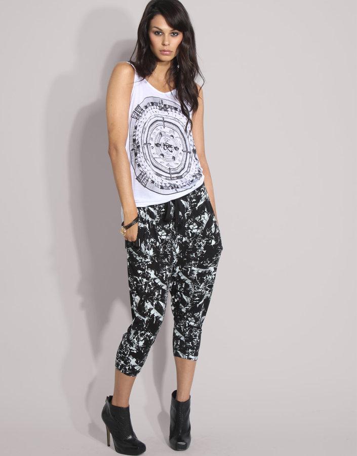 Something Else Printed Drawcord Harem Pants