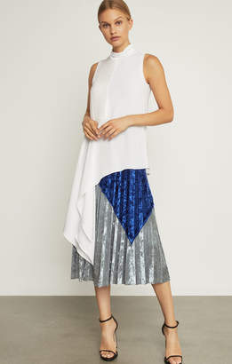 BCBGMAXAZRIA Colorblocked Velvet Pleated Skirt