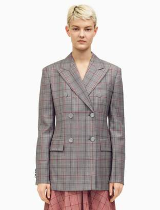 Calvin Klein double-breasted wall street blazer in check wool