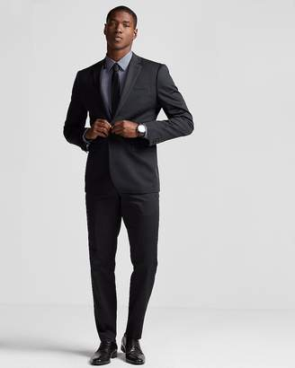 Express Slim Black Cotton Sateen Suit Jacket