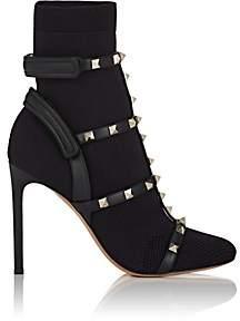 Valentino Women's Rockstud Knit Multi-Strap Ankle Boots - Black