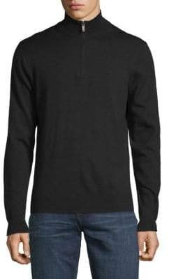 Saks Fifth Avenue Turtleneck Quarter-Zip Wool Sweater