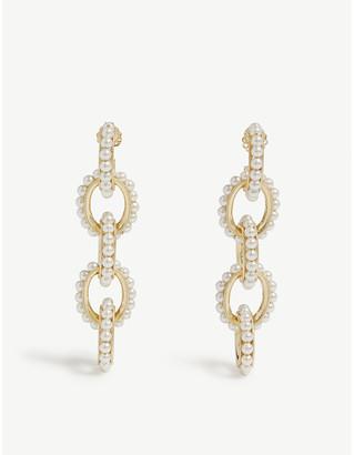 Swarovski SORU Mondello 24ct yellow-gold vermeil, sterling silver and pearl earrings