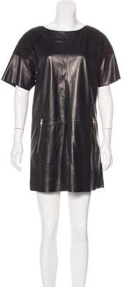 Louis Vuitton Suede-Paneled Leather Dress