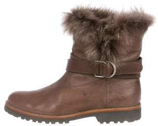 Brunello Cucinelli Fur-Trimmed Leather Boots