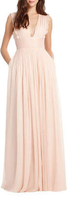 Monique Lhuillier BRIDESMAIDS Lily Metallic Chiffon Gown