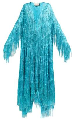 Gucci Metallic Fringed Fil Coupe Gown - Womens - Blue
