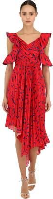Self-Portrait Asymmetric Printed Satin Midi Dress