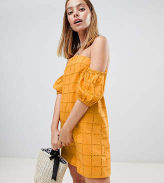 Asos DESIGN Petite Ultimate Broderie Puff Ball Off Shoulder Mini Sundress