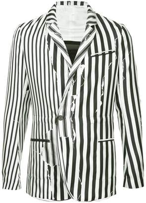 Haider Ackermann distressed-effect striped blazer
