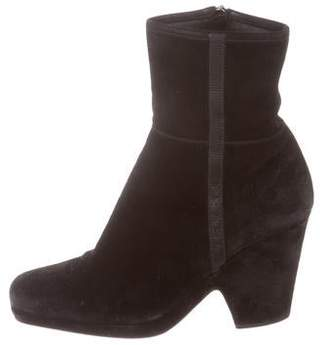 Prada Sport Suede Round-Toe Ankle Boots