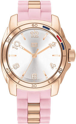 Tommy Hilfiger Women Blush & Rose Gold-Tone Silicone Strap Watch 36mm
