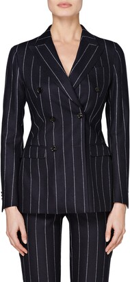 SUISTUDIO Cameron Pinstripe Double Breasted Wool Suit Jacket