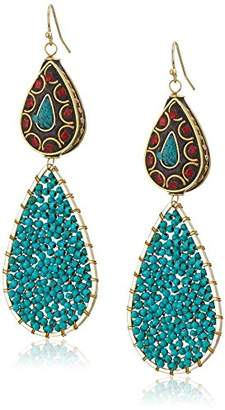 Panacea Women's Red Green Finding Beaded Turquoise Drop Earrings