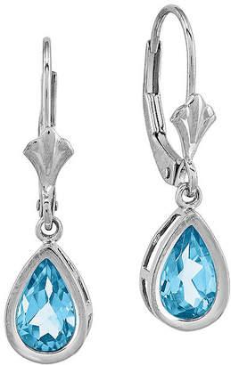 FINE JEWELRY Pear-Shaped Genuine Blue Topaz 14K White Gold Leverback Earrings