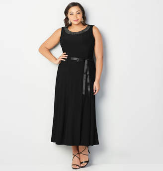 Avenue Beaded Neck Fit and Flare Maxi Dress