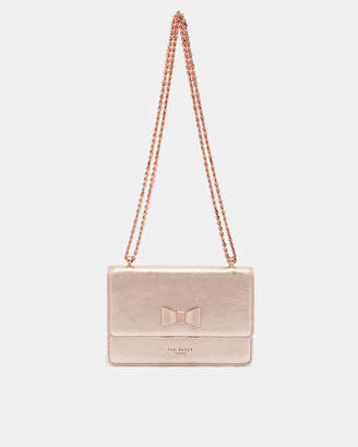 Ted Baker DRAYAA Bow detail metallic leather cross body bag