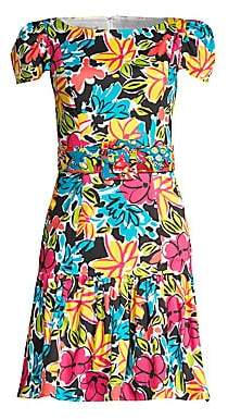 Michael Kors Women's Floral Belted Cap-Sleeve Dress - Size 0