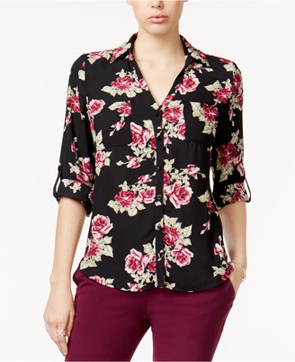 Bcx Juniors' Printed Roll-Tab Shirt $29.98 thestylecure.com