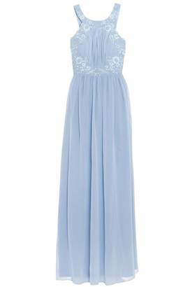 Quiz Powder Blue Chiffon Embellished High Neck Keyhole Dress