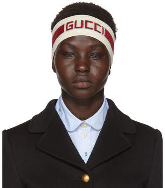 Gucci Off-White and Red Stripe Logo Headband
