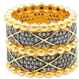 Women's Freida Rothman Baroque Blues Set Of 5 Stackable Rings $275 thestylecure.com