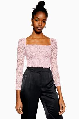 Topshop Womens Metallic Daisy Lace Top - Pink