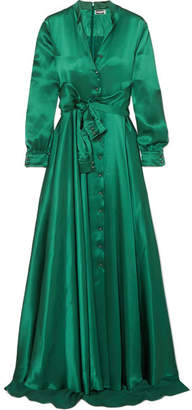 Alexis Mabille Bow-detailed Embellished Duchesse-satin Gown - Emerald