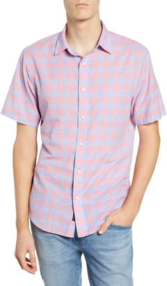 Faherty Regular Fit Check Short Sleeve Stretch Cotton & Linen Button-Up Sport Shirt