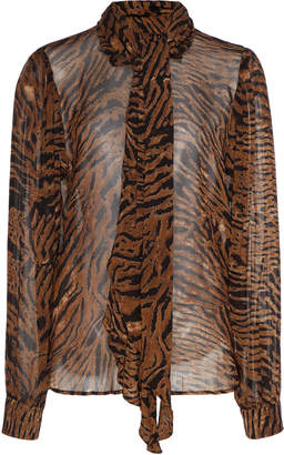 Ganni Tie-Detailed Animal-Print Georgette Top Size: 34