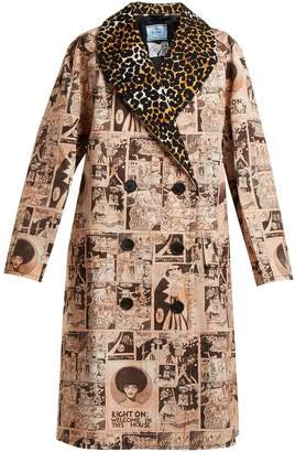 Comic-print double-breasted cotton coat