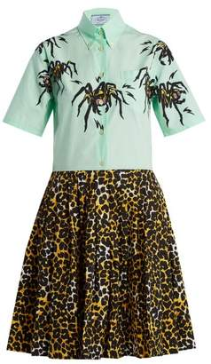 Prada Spider And Leopard Print Shirtdress - Womens - Green Print