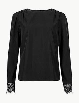 Marks and Spencer Round Neck Lace Cuff Long Sleeve Blouse