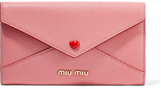 Envelope Textured-leather Wallet - Pink